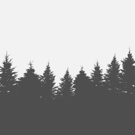 winter forest: Image of Nature. Tree Silhouette. Vector Illustration.