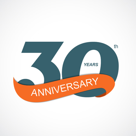 sport background: Template Logo 30th Anniversary Vector Illustration EPS10