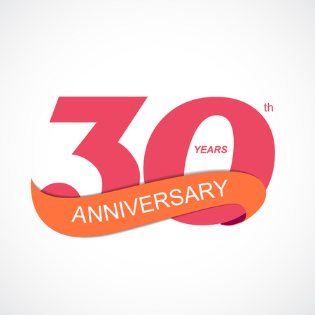30th: Template Logo 30th Anniversary Vector Illustration EPS10