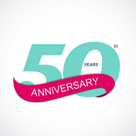 50th: Template  50th Anniversary Vector Illustration EPS10 Illustration