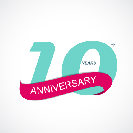 10th: Template Logo 10th Anniversary Vector Illustration EPS10