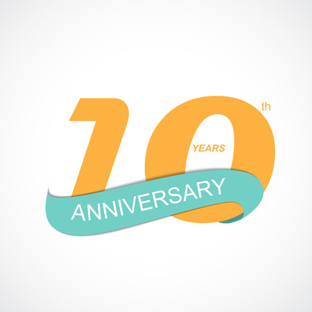 10 years: Template Logo 10th Anniversary Vector Illustration EPS10