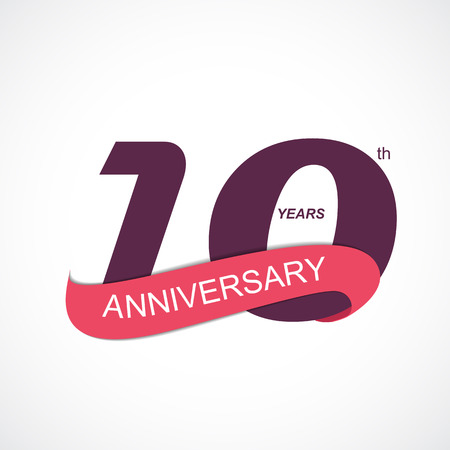 numero diez: Template Logo 10th Anniversary Vector Illustration EPS10
