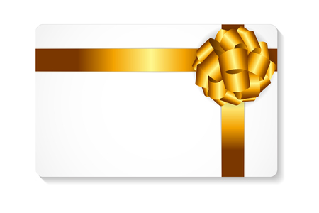 silk background: Gift Card with Gold Bow and Ribbon Vector Illustration EPS10
