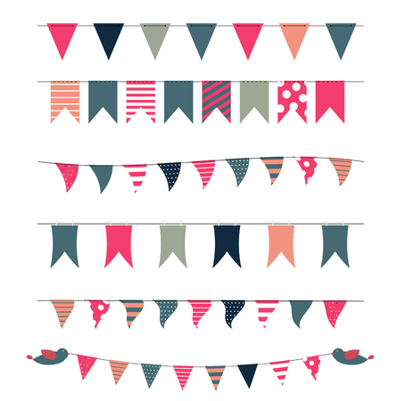 birthday party: Party Flags Set Vector Illustration. EPS 10 Illustration