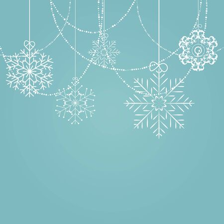 trees silhouette: Christmas Snowflakes Background Vector Illustration EPS10
