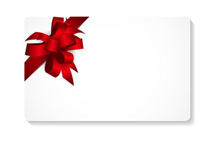 gift ribbon: Gift Card with Red Bow and Ribbon Vector Illustration EPS10
