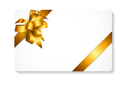 gold bow: Gift Card with Gold Bow and Ribbon Vector Illustration EPS10