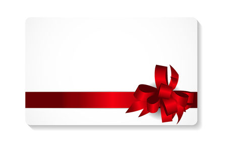 surprise gift: Gift Card with Red Bow and Ribbon Vector Illustration EPS10