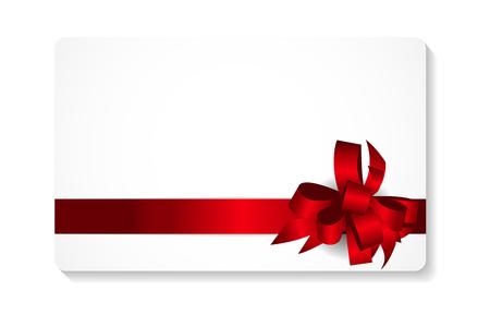 moño rosa: Tarjeta de regalo con el arco rojo y la cinta ilustración vectorial EPS10