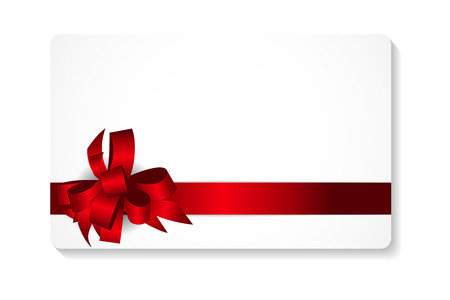 red ribbon bow: Gift Card with Red Bow and Ribbon Vector Illustration EPS10
