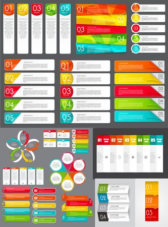 chart graph: Big Set of Infographic Banner Templates for Your Business Vector Illustration