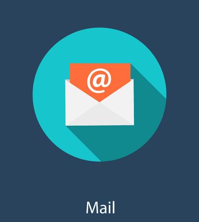 inbox: Inbox Mail Flat Concept Vector Illustration