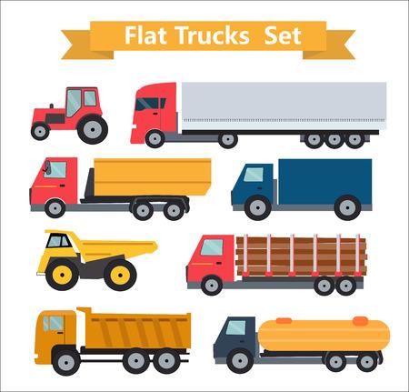 Flat Trucks Set Vector Illustration EPS10