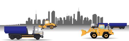 multiple lane highway: Transport Services in the City. Car. Vector Illustration.   Illustration