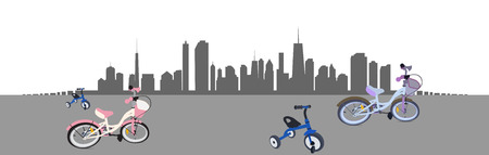 car road: Riding a Bike in the City. Vector Illustration.   Illustration