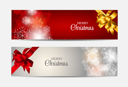 header: Christmas Snowflakes Website Header and Banner Set Background Vector Illustration