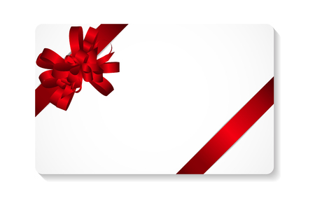 blank card: Gift Card with Red Bow and Ribbon Vector Illustration   Illustration