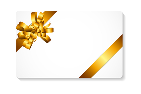 gift card with gold bow and ribbon vector illustration negle Choice Image