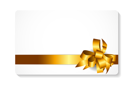 gold bow: Gift Card with Gold Bow and Ribbon Vector Illustration