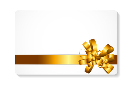 gold bow: Gift Card with Gold Bow and Ribbon Vector Illustration   Illustration