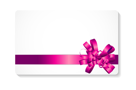 red ribbon bow: Gift Card with Pink Bow and Ribbon Vector Illustration
