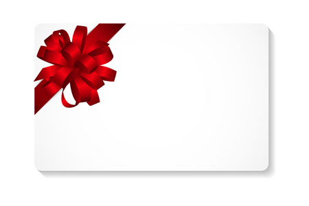 Gift Card with Red Bow and Ribbon Vector Illustration   Иллюстрация