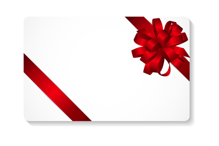 red bow: Gift Card with Red Bow and Ribbon Vector Illustration