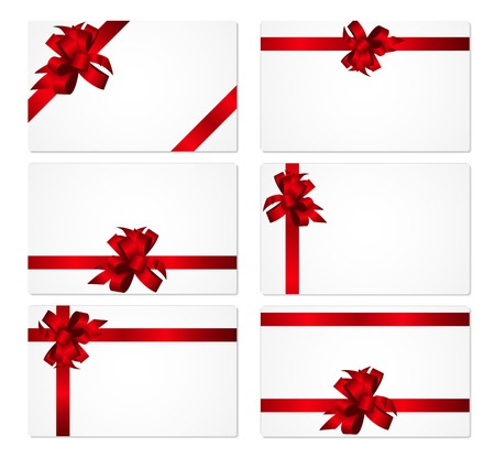 red bow: Gift Card with Red Bow and Ribbon Set Vector Illustration