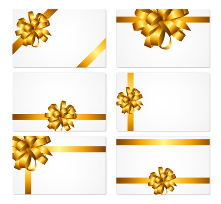gold bow: Gift Card with Gold Bow and Ribbon Set Vector Illustration
