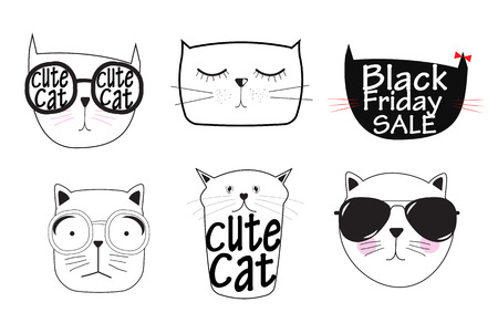 to black: Cute Handdrawn Cat Set Vector Illustration   Illustration