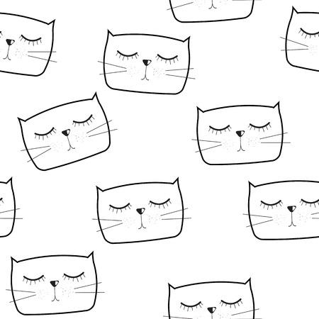 anger abstract: Cute Handdrawn Cat Seamless Pattern Vector Illustration  Illustration