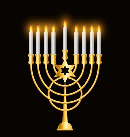 jewish: Happy Hanukkah, Jewish Holiday Background. Vector Illustration