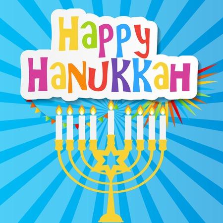jewish holiday: Happy Hanukkah, Jewish Holiday Background. Vector Illustration. Hanukkah is the name of the Jewish holiday.