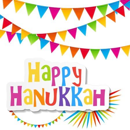 menora: Happy Hanukkah, Jewish Holiday Background. Vector Illustration. Hanukkah is the name of the Jewish holiday.
