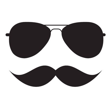 fashionable: Cute Handdrawn Glasses and a Mustache Vector Illustration