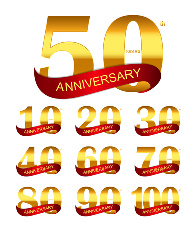 70 80 years: Template Logo Set Anniversary
