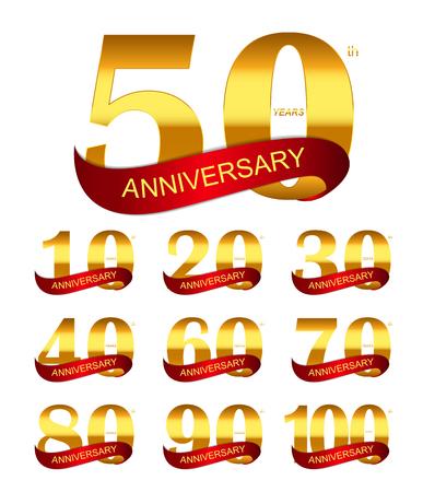 hundred: Template Logo Set Anniversary