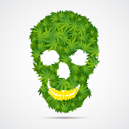 cannabis: Abstract Cannabis Skull Isolated Illustration