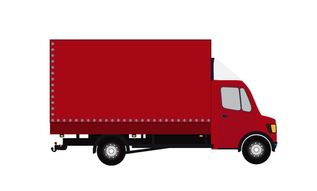 Red Small truck. Silhouette. Vector Illustration. EPS10