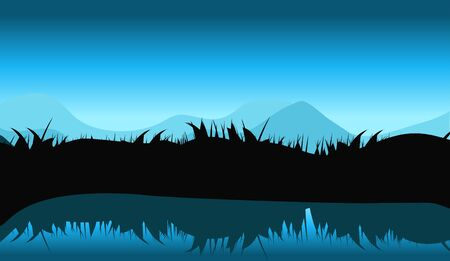 water reflection: Nature Landscape with Reflection in Water. Vector llustration. EPS10