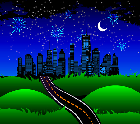 night road: Night Road to the Town of Nature. Vector Illustration. EPS10