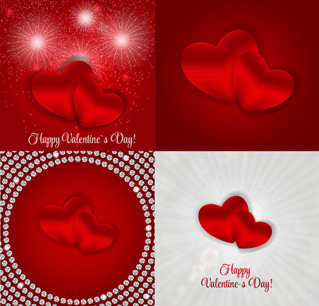 small group of object: Happy Valentines Day Card with Heart. Vector Illustration Illustration