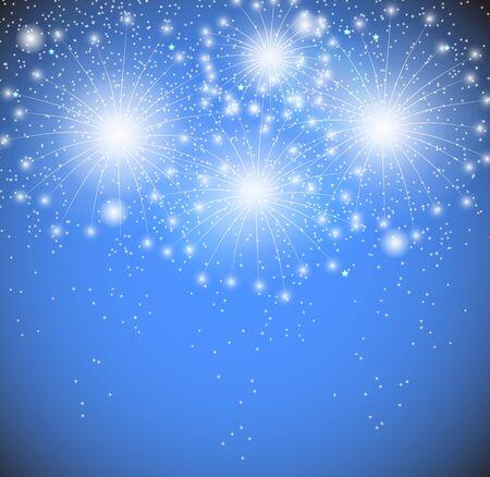Blue Glossy Fireworks Background Vector Illustration. EPS10