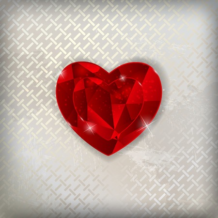 two dimensional shape: Happy Valentines Day Card with Heart. Vector Illustration. EPS10