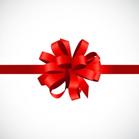 moño rosa: Tarjeta de regalo con el arco rojo y cinta Ilustración vectorial Vectores