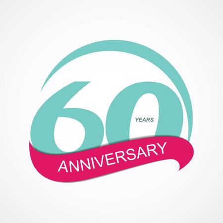 estampilla: Template  60 Anniversary Vector Illustration