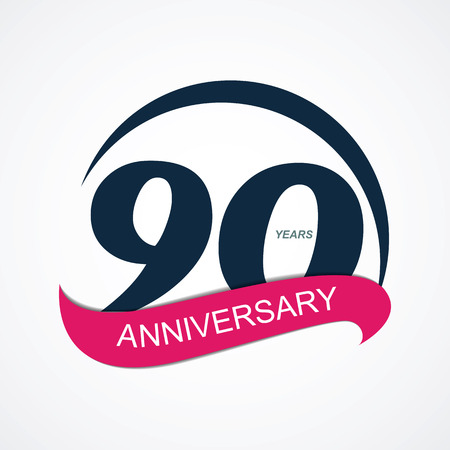 stamp collection: Template  90 Anniversary Vector Illustration