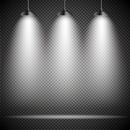 stage projector: Bright with Lighting Spotlights Lamp with Transparent Effects on a Plaid Dark Background. . Empty Space for Your Text or Object. EPS10