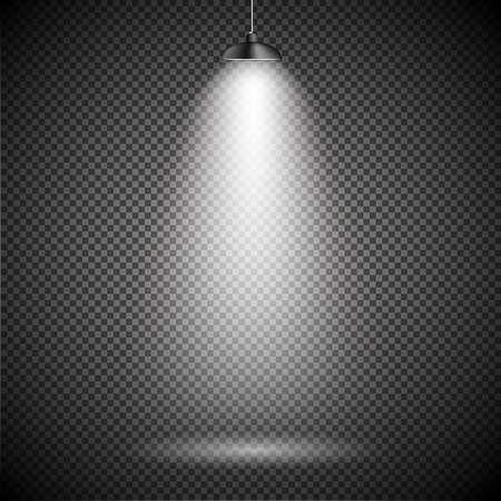 exposition: Bright with Lighting Spotlights Lamp with Transparent Effects on a Plaid Dark Background. . Empty Space for Your Text or Object. EPS10